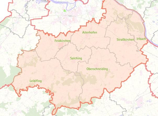 Karte der ILE Gäuboden
